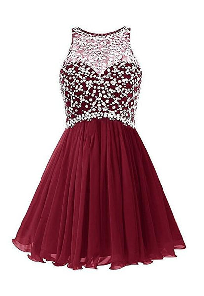 Burgundy Homecoming Dress, School Outfit, Short Prom Dresses For Teens pst1683