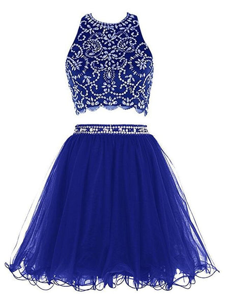 Royal Blue Two Pieces Homecoming Dress, School Outfit, Short Prom Dresses For Teens pst1680
