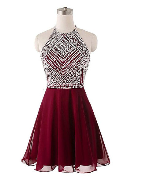 Burgundy Backless Homecoming Dress,School Outfit, Short Prom Dresses For Teens pst1677