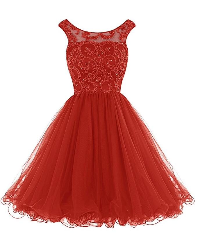 Red Homecoming Dress V Back, School Outfit, Short Prom Dresses For Teens pst1676