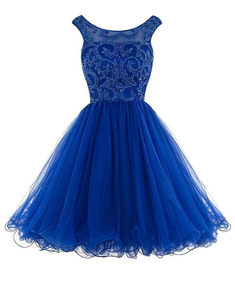 Royal Blue Homecoming Dress V Back, School Outfit, Short Prom Dresses For Teens pst1675