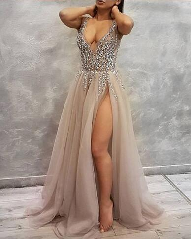 17c67997e151 Sexy Long Prom Dress with High Slit