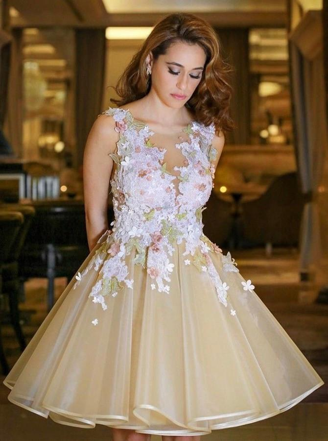 Homecoming Dress with Flowers, Back To School Dress, Short Prom Dresses For Teens pst1658