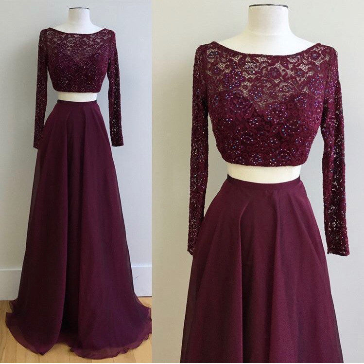 Two Pieces Prom Dress with Long Sleeves, Graduation Party Dresses, Banquet Dresses, Formal Dresses