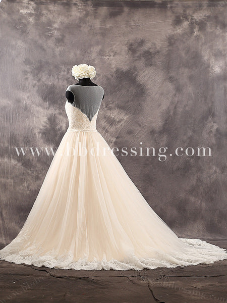 Lace Sweetheart Bodice Illusion Zipper Up Back A-Line Chapel Train Wedding Dress Style WD224