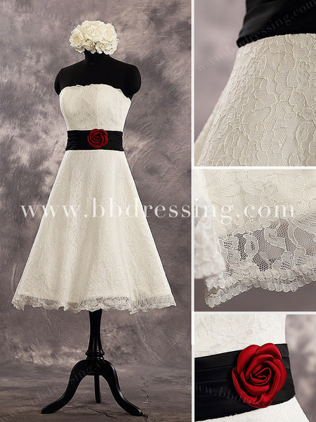 Knee Length A Line Lace Wedding Dresses Style WD225
