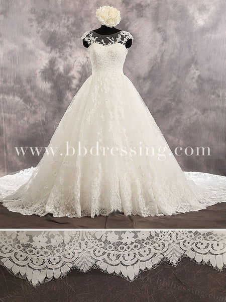 Ivory Cap Sleeves Sweetheart Neckline Sequined Lace Bodice Tulle Skirt Wedding Dress Chapel Train Lace Up Back Ballgown Style WD231