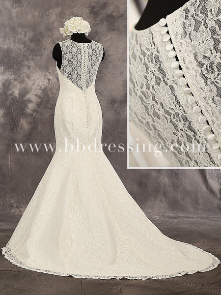 Lace Mermaid Sleeveless Sweetheart Neckline Lace Straps Buttons Up Back Wedding Dress Chapel Train Style WD232