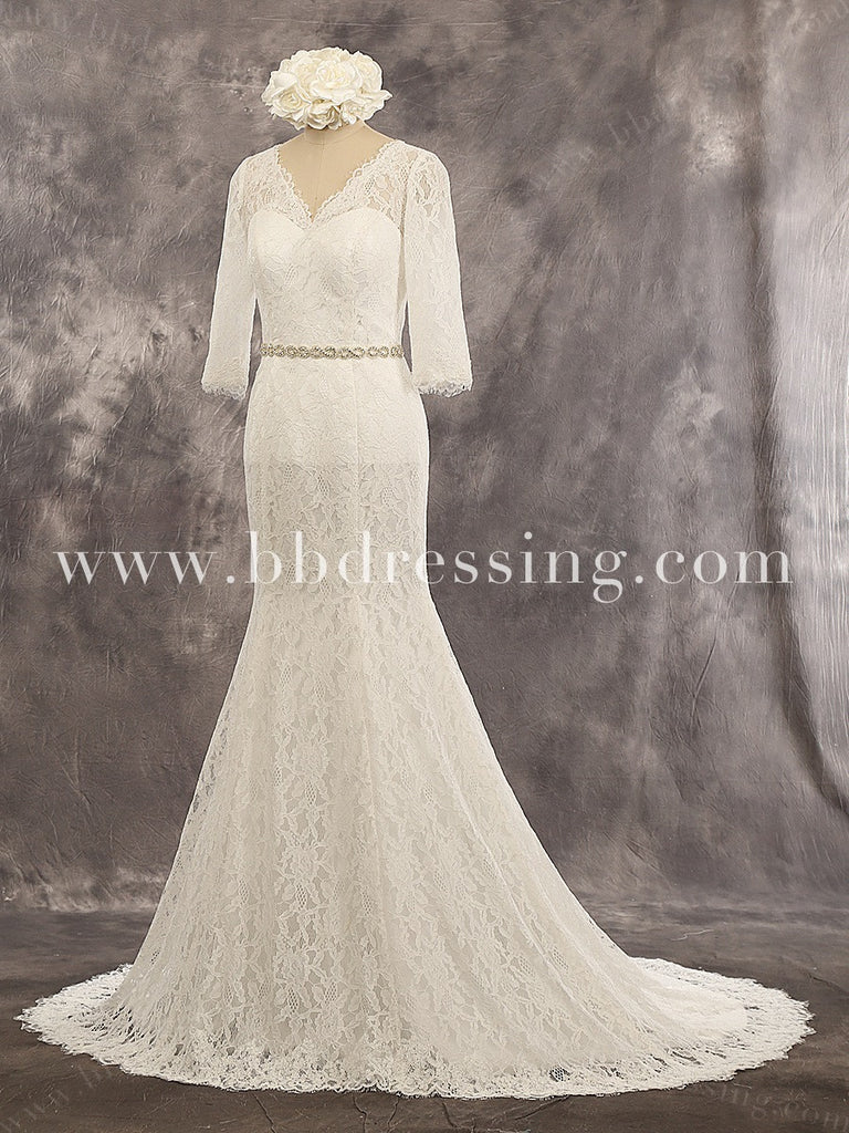 Lace Mermaid Sweetheart Beaded belt 3/4 Sleeves Buttons Up Back Chapel Train Wedding Dress Style WD233