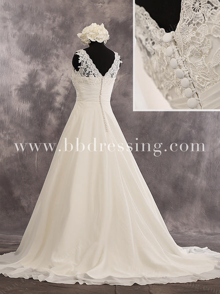 A-Line Sleeveless Sweetheart Neckline Chapel Train Lace Bodice Ruched Waist And Chiffon Skirt Wedding Dress Style WD239
