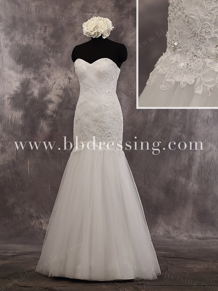 Lace Mermaid Floor Length Sweetheart Strapless Criss-Cross Bodice Wedding Dress Style WD241