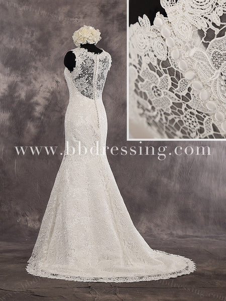 Mermaid Sweetheart Sleeveless Lace Overlay Illusion Back Court Train Wedding Dress Zipper Up Back Style WD245