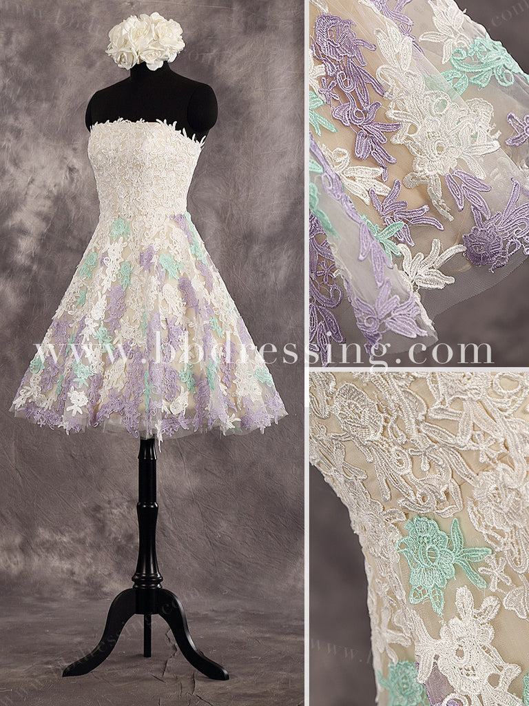 Knee Length Lace Reception Wedding Dresses Style WD250
