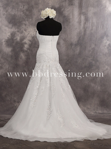 Strapless Sweetheart Trumpet Chapel Train Draped Bodice Wedding Dress Zipper Up Back Style WD255