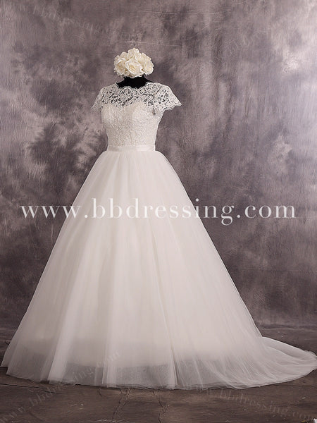 Floor Length Short Sleeves Sweetheart Neckline Lace Bodice Tulle Skirt Wedding Dress Deep V Back Zipper Up Back Bridal Dress Style WD257