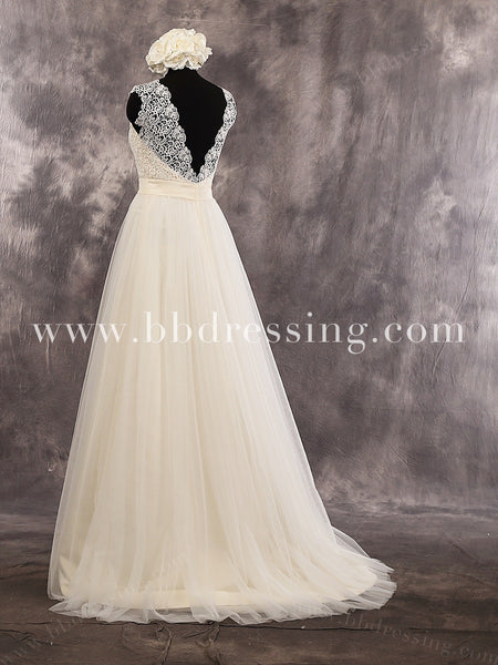 Fabulous Sheath Lace Sweetheart Cap Sleeves Floor Length Wedding Dress Deep V-Back Bridal Dress Style WD258