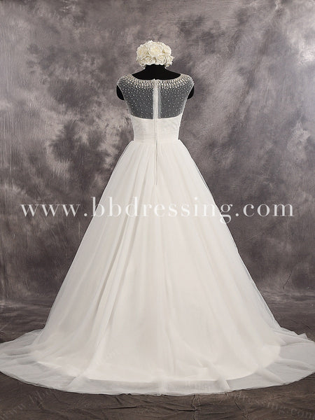 Fabulous A-Line Tulle Sweetheart Court Train Beaded Bidice Wedding Dress Illusion Zipper Up Back Bridal Dress Style WD259