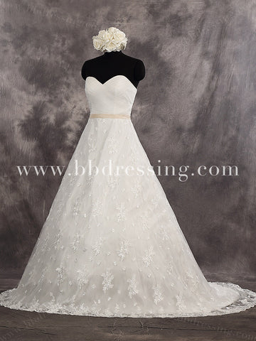 A Line Strapless Sweetheart Lace Overlay Skirt Wedding Dresses with Satin Waist Sash Style WD260