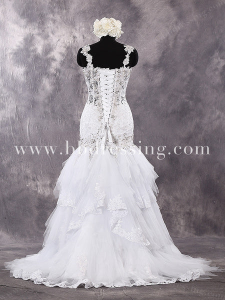 2016 New Style Wedding Gown with See Through Top WD267