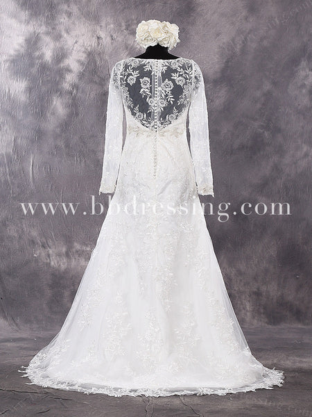 Lace Wedding Dress with Sleeves WD268
