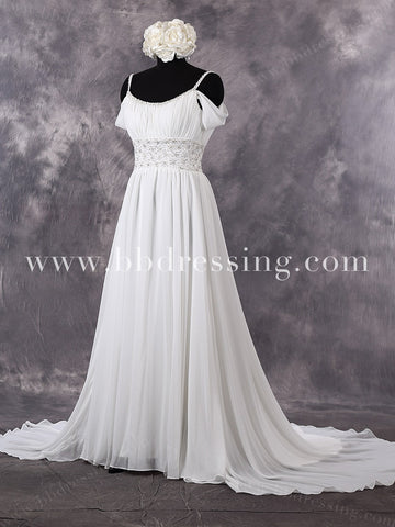 Chiffon Wedding Dress with Off the Shoulder Straps WD270