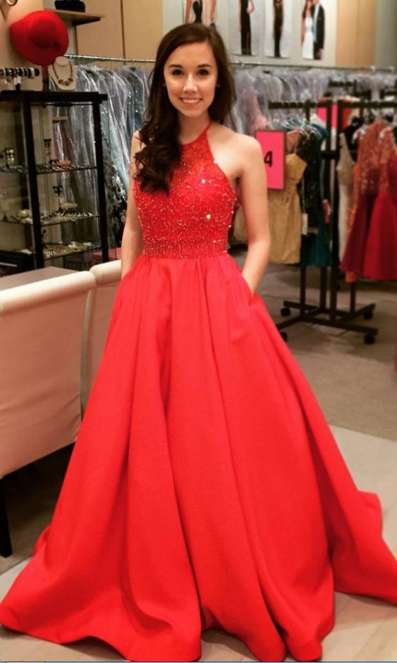 Prom Dress Long 2018 with Pockets, Prom Dresses, Graduation Party Dresses, Formal Wear, Pageant Dress pst1744