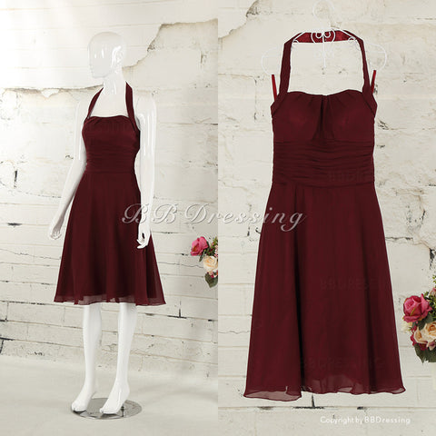 BBDressing Knee Length Halter Chiffon Bridesmaid Dresses bb0011