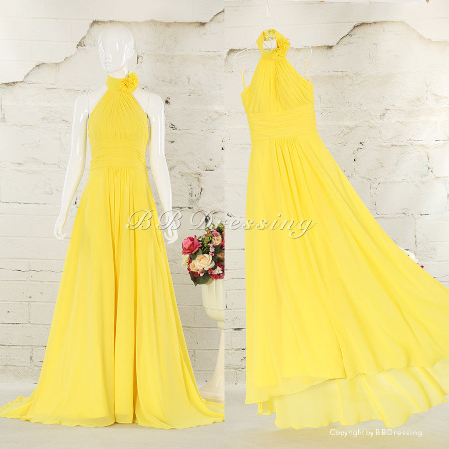 BBDressing Halter Floor Length Court Train Chiffon Bridesmaid Dresses with Handmade Flowers bb0012