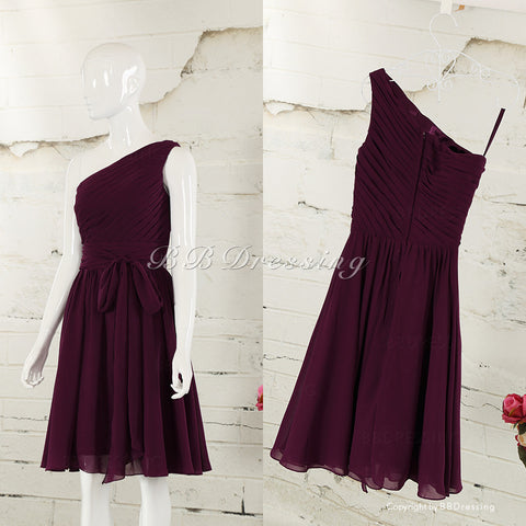 BBDressing Asymmetrically One Shouder Knee Length Chiffon Bridesmaid Dress with Back Bow bb0015