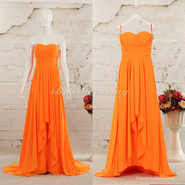BBDressing Gorgeous Chiffon Sweetheart Neckline Sweep Train Ruched Bodice Evening Dresses Zipper Up Back bb0018