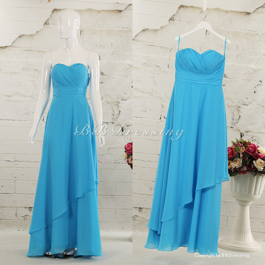BBDressing Strapless Chiffon Floor Length Gown With Sweetheart Neckline Ruched Waist Detail bb0019