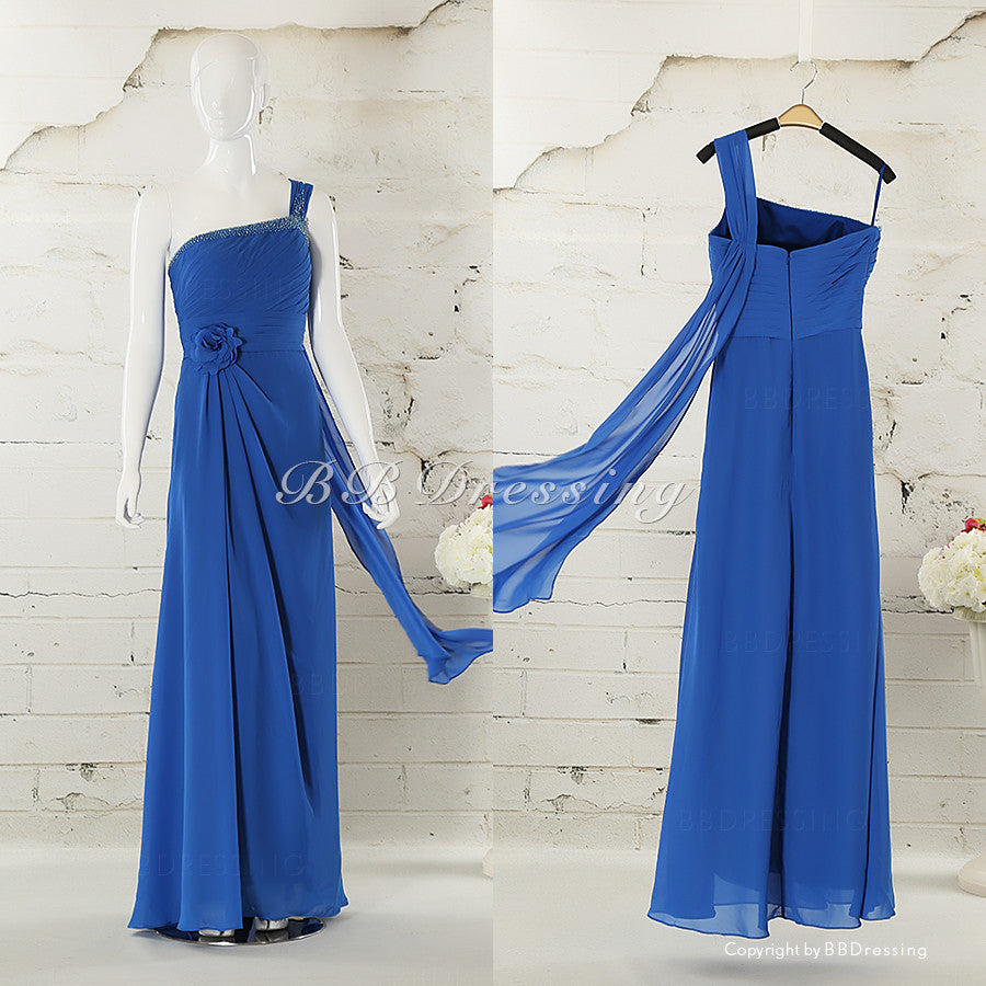 BBDressing One Shoulder Beaded Neckline Ruched Bodice Chiffon Evening Dresses Floor Length Zipper Up Back Style bb001