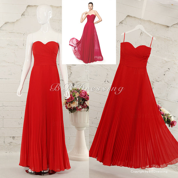 BBDressing Sweetheart Strapless Floor Length Chiffon Evening Dresses With Draped Skirt Zipper Up Back Style bb0022