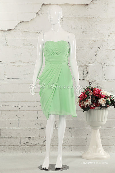 BBDressing Knee Length Sweetheart Neckline Shirred Chiffon Bridesmaid Dress with Draped Side Detail bb0024