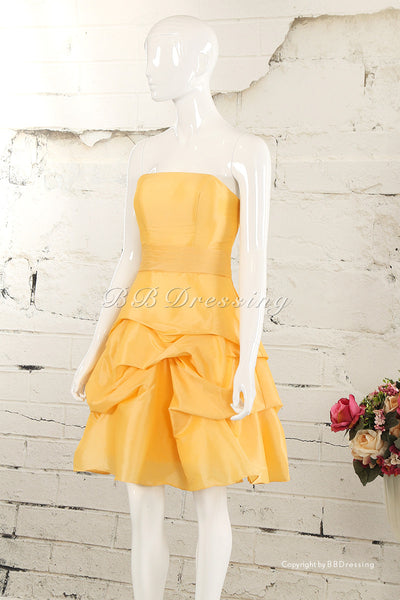BBDressing A Line Knee Length Straight Neckline Taffeta Bridesmaid Dress bb0027