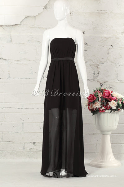 BBDressing Strapless Black Chiffon Floor Length Gown With Straight Neckline bb0031