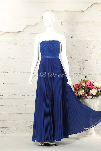 BBDressing Strapless Straight Neckline Floor Length Lace Bodice And Draped Chiffon Skirt With Beloro Evening Dress Zipper Up Back Style bb0032