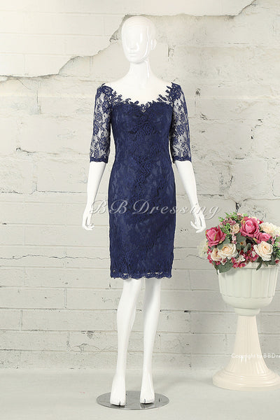 BBDressing Lace Overlay Knee Length Sheath Sweetheart Neckline Half Sleeves Evening Dresses Cocktail Dresses Zipper Up Back Style bb0033