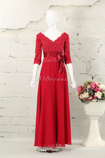 BBDressing Floor Length Scalloped Neckline Sheath Long Sleeves Evening Dresses With Handmade Flowers Zipper Up Back Style bb0034