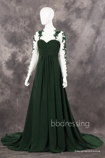 BBDressing Sophisticated Chiffon Ruched Bodice Sweetheart Neckline Appliqued Long Sleeves Evening Dresses Zipper Up Back Style bb0039