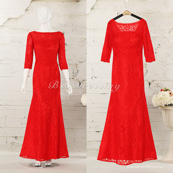 BBDressing Lace Mermaid Long Prom Dresses with Sleeves bb003