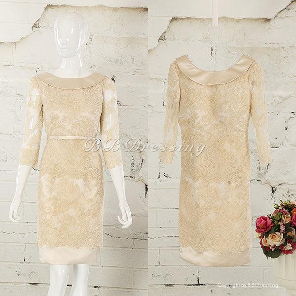 BBDressing Gold Prom Dresses with Sleeves bb006