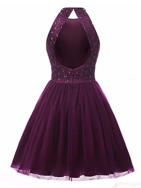 Grape Color Homecoming Dress, School Outfit, Short Prom Dresses For Teens pst1669