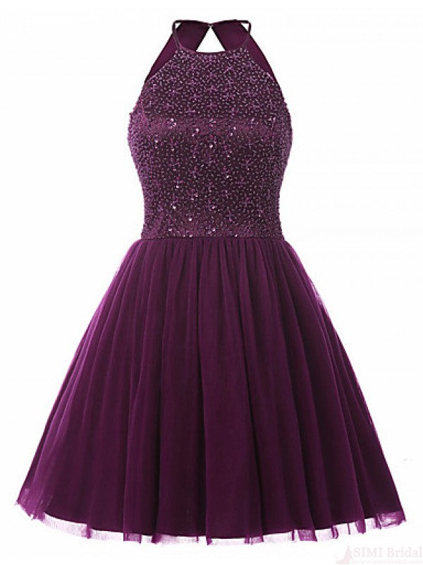 Grape Color Homecoming Dress, School Outfit, Short Prom Dresses For ...