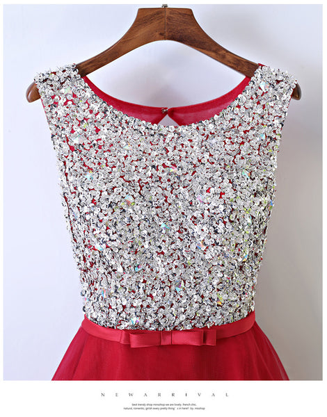 Red Homecoming Dress With Stones, School Outfit, Short Prom Dresses For Teens pst1672