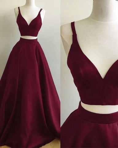 two pieces burgundy prom dresses, formal dresses, wedding party dresses, graduation party dresses,sweet 16 dresses