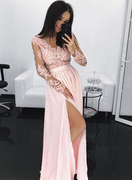 Light Pink Long Sleeves Prom Dress With Slit, Prom Dresses, Graduation Party Dresses, Formal Wear, Pageant Dress pst1774