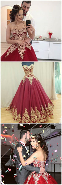 Burgundy and Gold Applique and Tulle Prom Dresses Wedding Party Dresses Celebrity Dresses Graduation Party Dresses