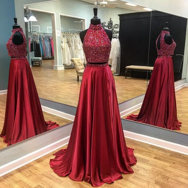 High Neck Burgundy Two Piece Prom Dresses Wedding Party Dresses Formal Gowns Banquet Dresses