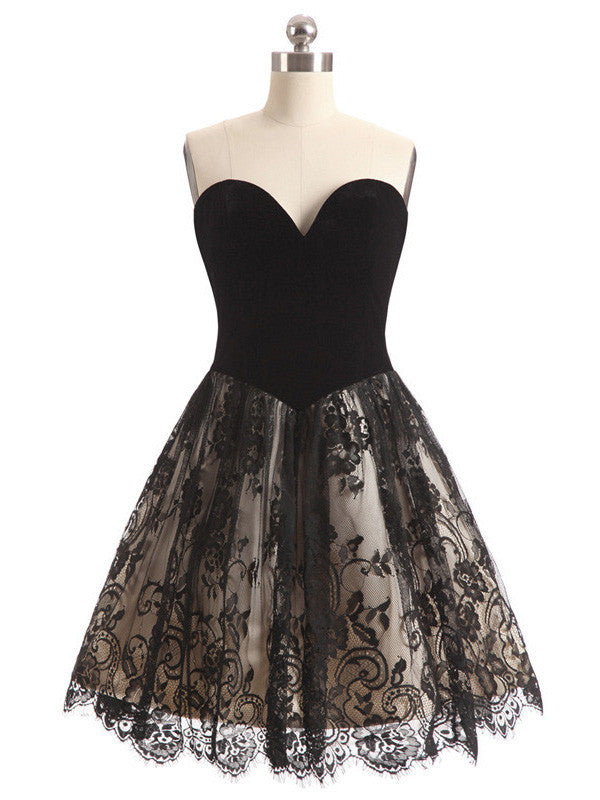 Black Lace Homecoming Dress, Short Prom Dresses For Teens pst1640